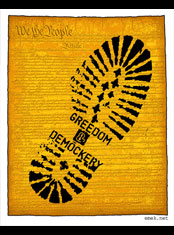 emek x: greedom a boot with a mud print on the constitution